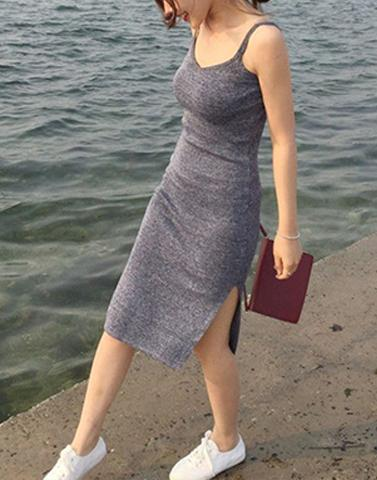 Sporty Grey Slim Slit Dress