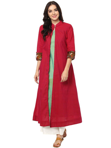 aayusika Beautiful Ethnic Wear Sauth Cotton & Embroidered Work Long kurtas