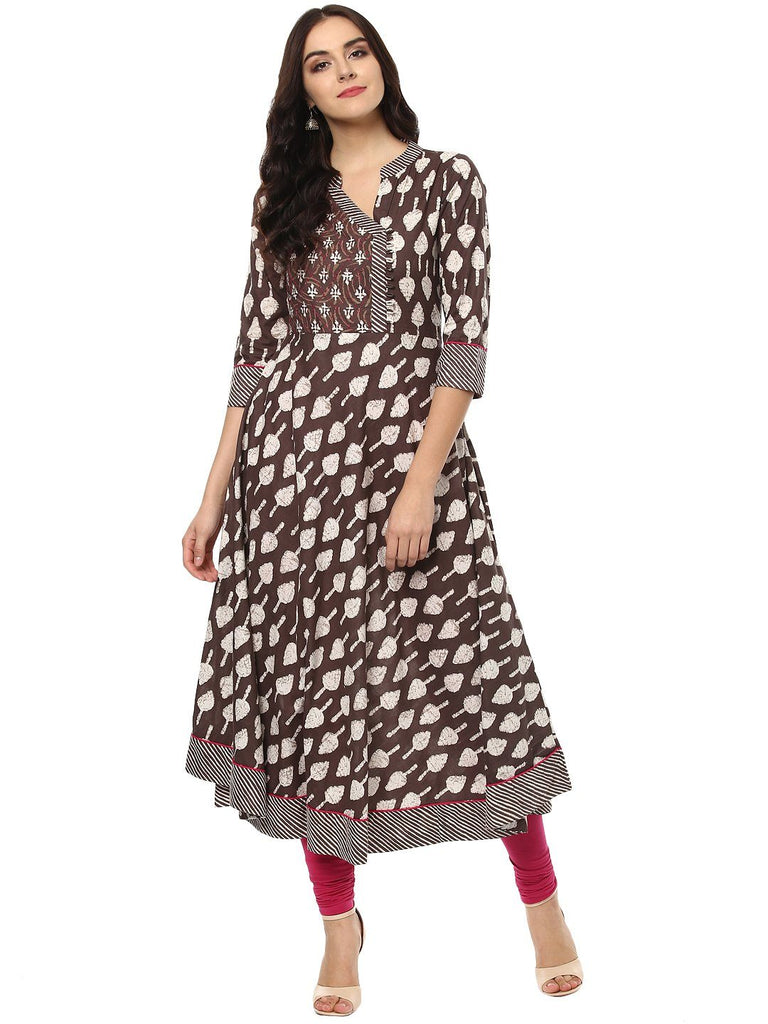 aayusika Beautiful Ethnic Wear Cotton Designer Mill Printed Trim Work Anarkali Kurtas