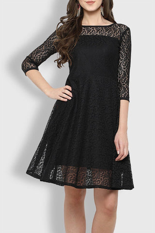 Black  Knee Length Lovely Dress