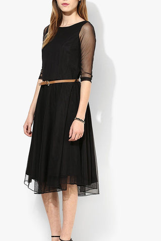 Black  Net Midi Dress