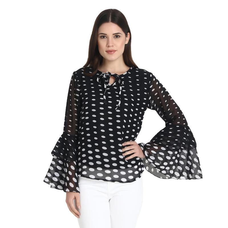 Black And White Draping Printed Bell Sleeves Top