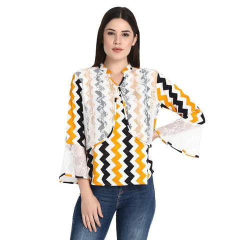 Black White Mustard Zig Zag Flap Top With Bell Sleeves