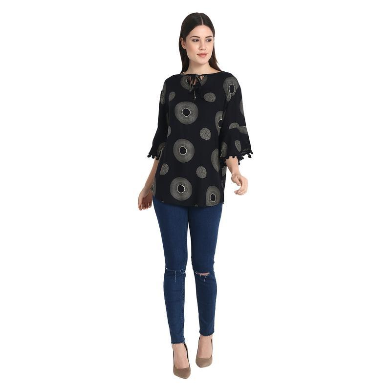 Black Pajeli Printed Top With Neck Tie