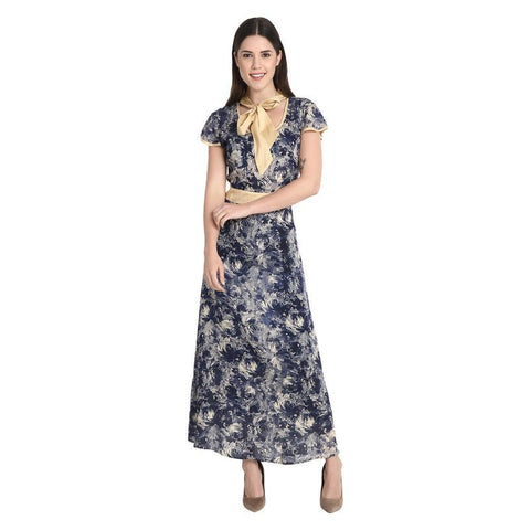 Black With White Rose Print Long Dress With Beige Tie