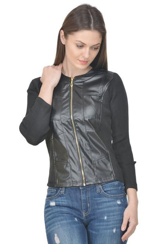 Raabta Black Faux Jacket With Black Rib