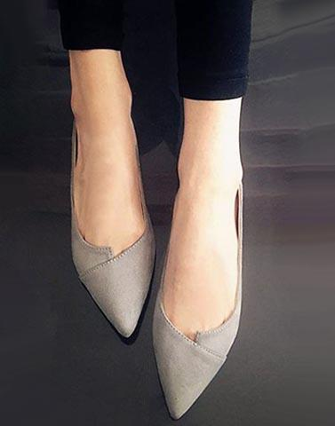 Grey Casual Pointy Flats