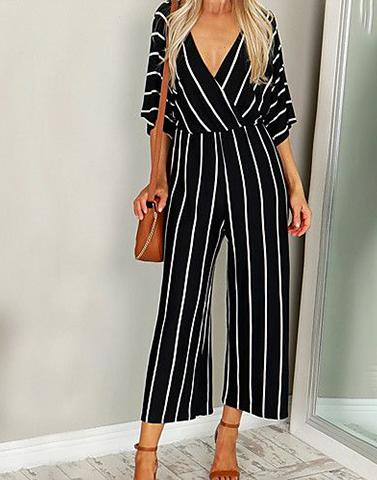 Black And White Striper Jumpsuit