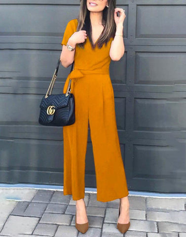 Simple Mustard V-Neck Jumpsuit