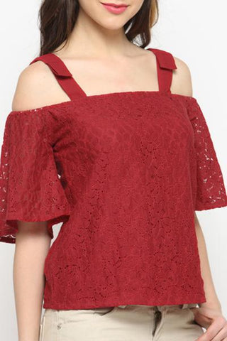 Double Wide Strap Cold Shoulder Red Top