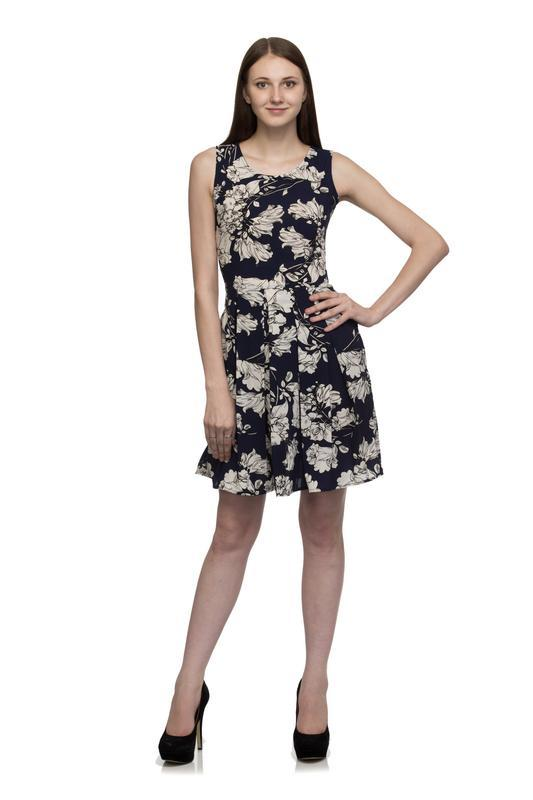 Box Plate Floral Knee  Long Dress