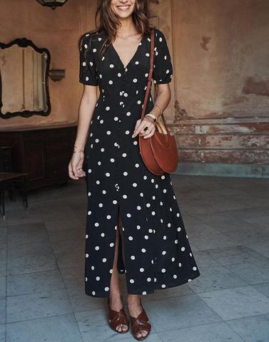 Playful Polka Dot Black Dress