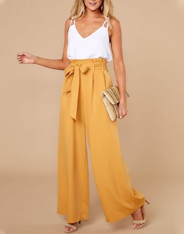 Beauty In Bows White & Mustard Pair Set