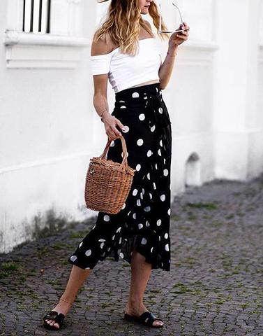 Ruffling Around In Polka Black Skirt