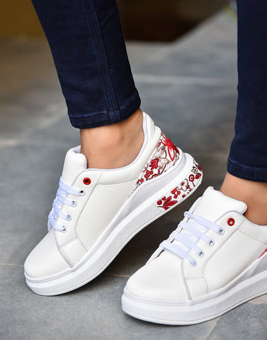 Jazzy Sleek White Red Sneakers