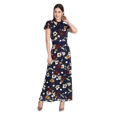 Navy Multicolor Long Dress With Multicolor Tie