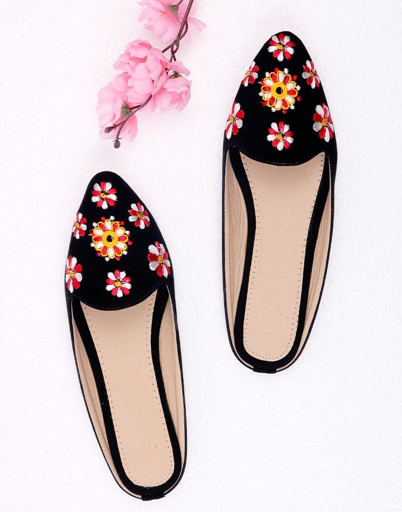 Floral Black Embroidery Mule Flat
