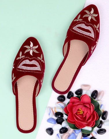 Maroon Embroidery Mule Flat