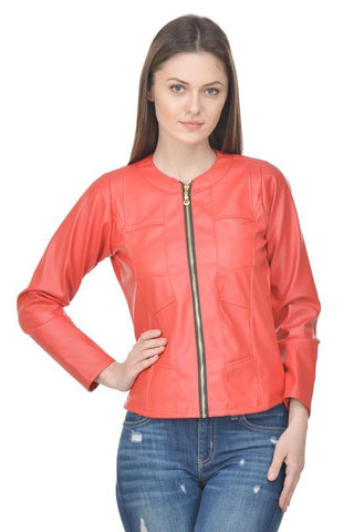 Raabta Red Full Faux Leather Jacket