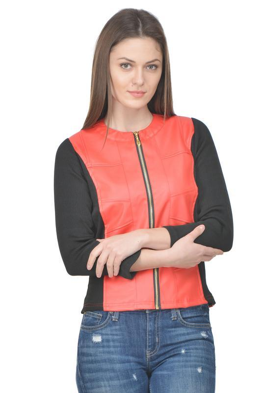 Raabta Red Jacket With Black Rib