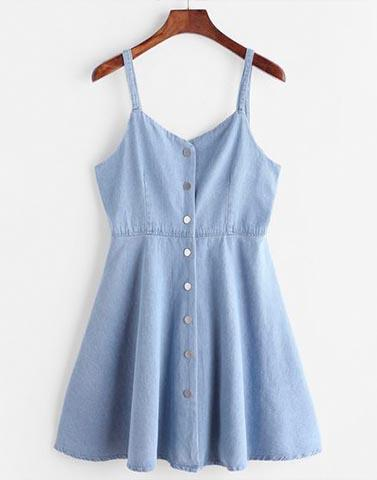 Clear Skies Buttoned Blue Dress