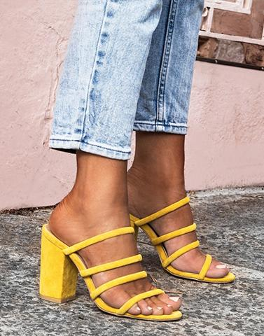 Sunshine Yellow Gladiator Heels