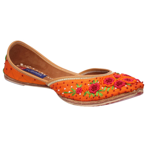 MSC Leather Stylish Fancy Orange Flat Juttis For Women