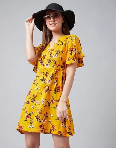 Flaired Up Mustard Floral Dress