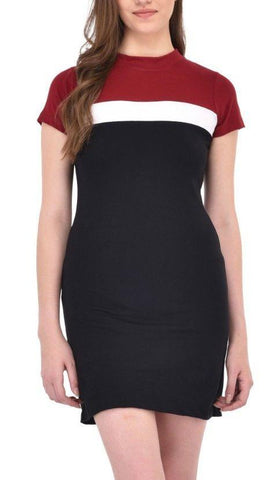Maroon and Black Bodycon Dress