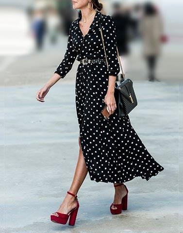 Black Polka Dot Long Dress