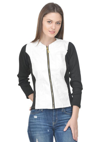 Raabta White Jacket With Black Rib