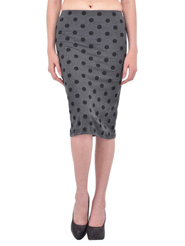 Black Polka Dot Print Charcoal Grey Pencil Skirt