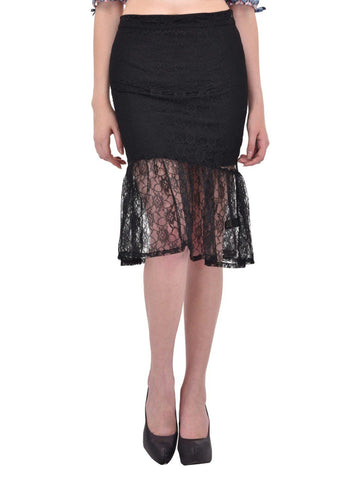 Black Floral Lace gathered hem Skirt