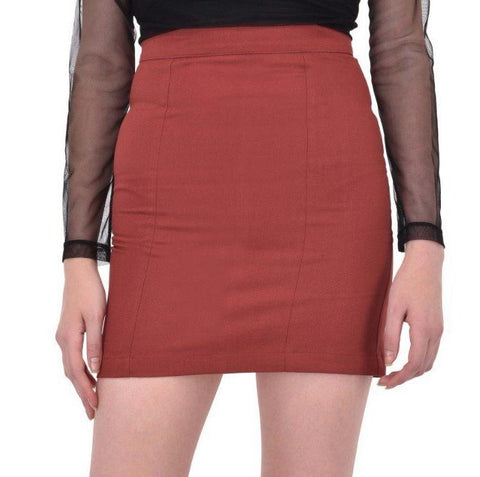Maroon Cotton Twill Mini Skirt