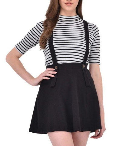 Black suspender skater skirt