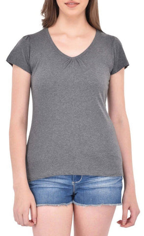 Gathered V-neck Charcoal Grey Tee