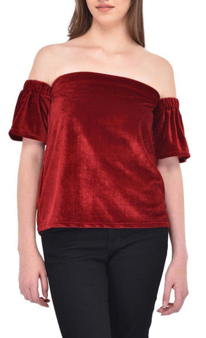 Maroon Colored Velvet Bardot Top