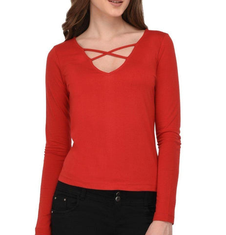 Red Cage Neck Top