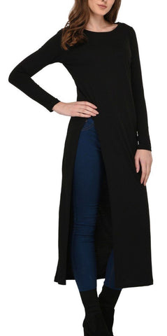 Black Front Slit Maxi Top