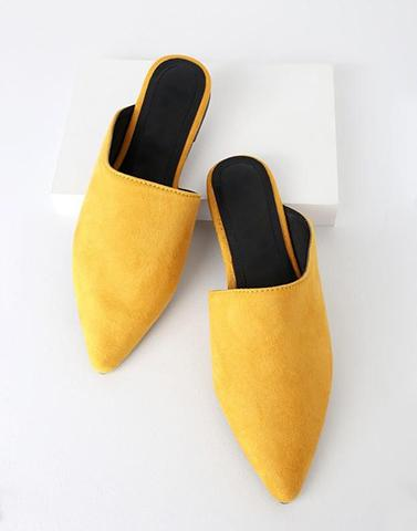 Pretty Mustard Pointed Mules