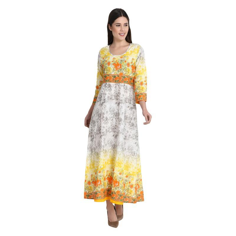 Yellow Multicolor Flower Long Dress With Full Sleeves