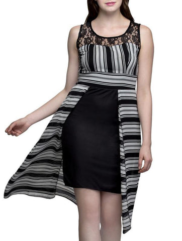 Net Yoke Stripe Knee Long Dress