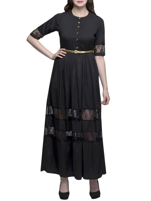 Black Net Border Maxi Dress