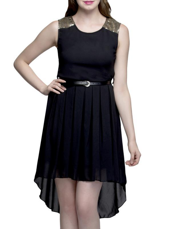 Black Sequence HL Knee Long Dress