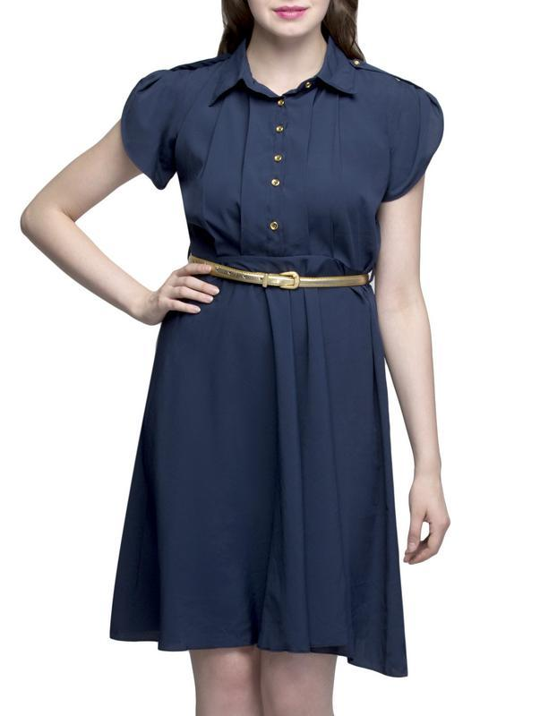 Blue Gold Button Knee Long Dress