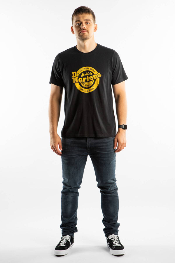 #00098  Dr.Martens T-Shirt LOCK UP LOGO T-SHIRT 001 BLACK/YELLOW