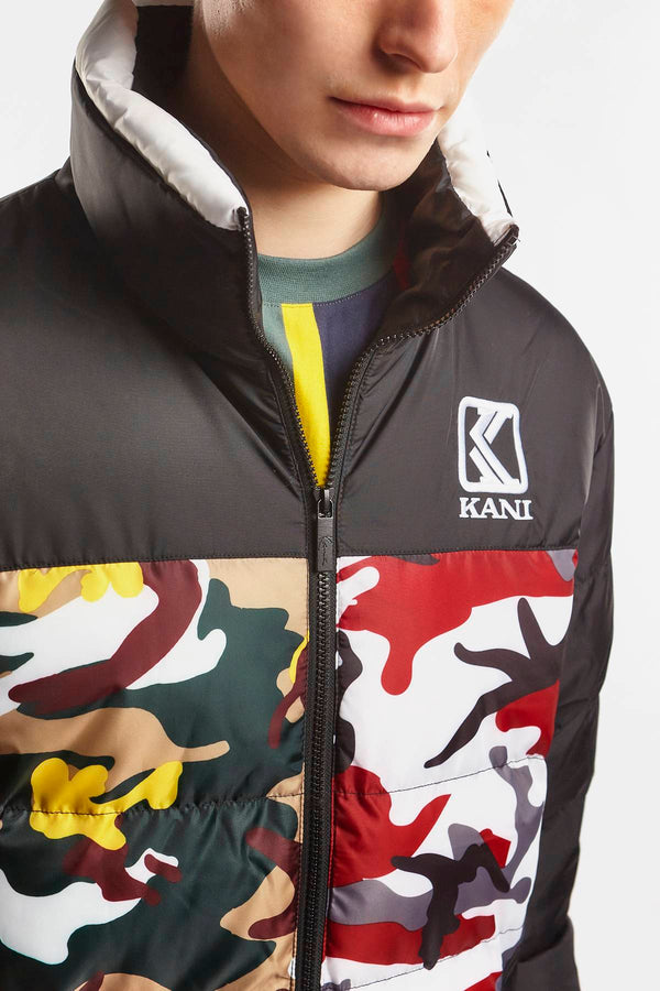 #00001  Karl Kani Jacke RETRO CAMO PUFFER JACKET 326 BURGUNDY/WHITE/BLACK/YELLOW/BROWN