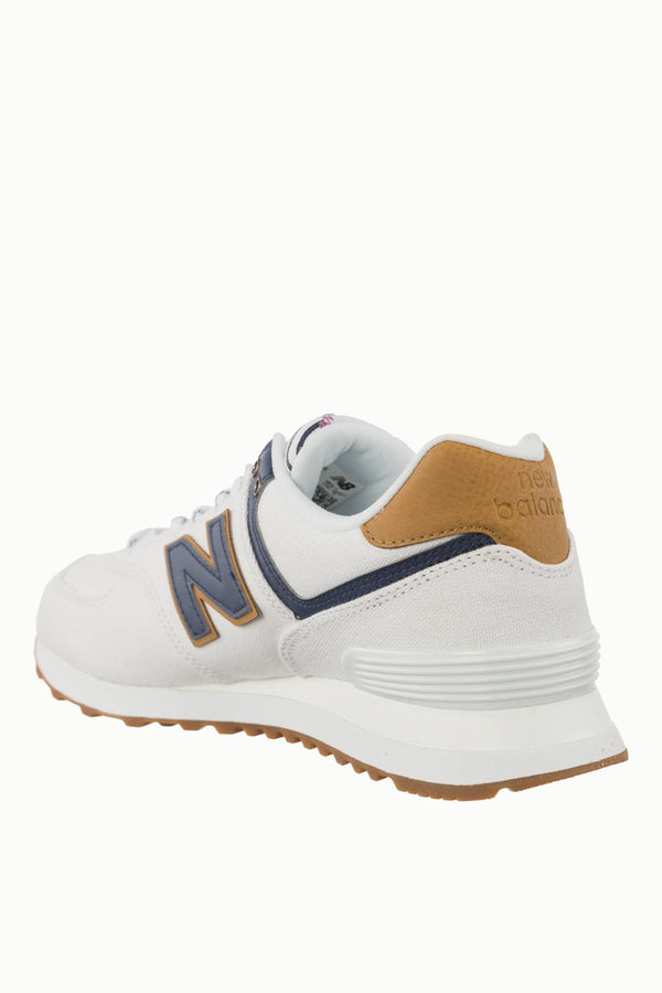 #00157  New Balance Sneakers WL574SYE WHITE WITH VINTAGE INDIGO SEA ESCAPE
