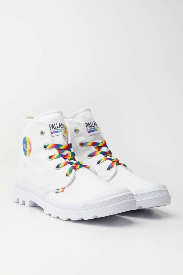 #00004  Palladium High-Top Schuhe PAMPA PRIDE 132 WHITE/RAINBOW