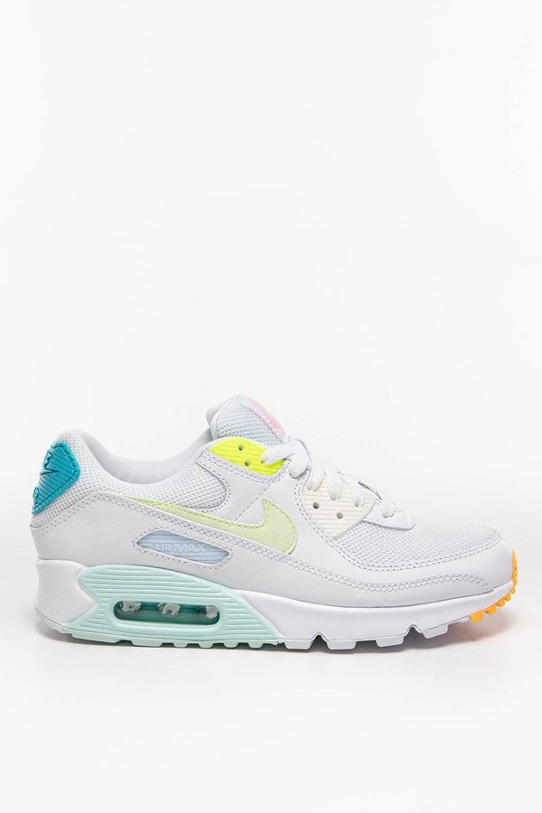 #00007  Nike Sneakers WMNS Air Max 90 CZ0366-100 WHITE/BARELY VOLT-AURORA GREEN